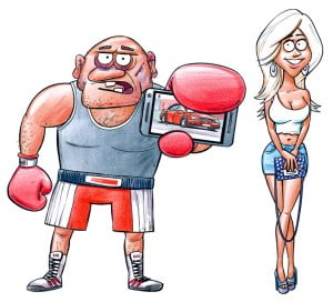 Gatis Sluka blonde girl cartoon, boxer