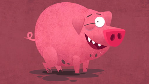 pig, funny, cartoon